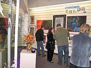 visitors enjoying artwork