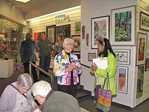 Nita and gallery visitor