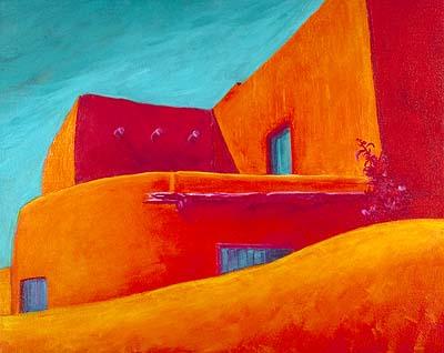 Adobe Shapes Acrylic Painting On Canvas By Nita Leland